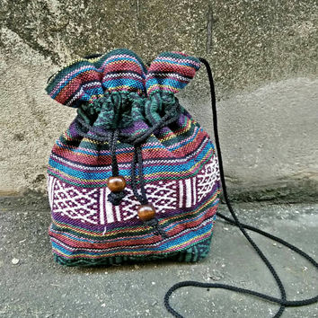 Boho bags aztec Cross body drawstring Festival Purse Boho chic pattern Hippies Folk Styles Phone Case Pouch Bohemian Shoulder bag Ethnic gre