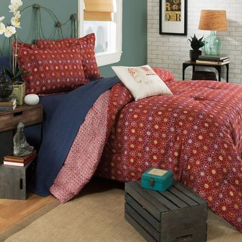 Brooklyn Flat Ceylon Reversible Comforter Set in Red