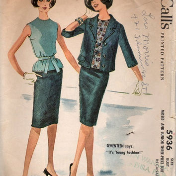 McCall's 5936 Sewing Pattern 60s Retro Mad Men Jackie O Style Misses Suit Straight Wiggle Skirt Tailored Jacket Casual Business Bust 33