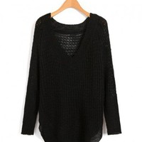 Black V Neckline Knitwear with Cut Out Design and Curved Hem