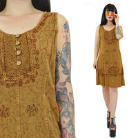 vintage 90s tan embroidered mini dress crochet boho hippie gypsy soft grunge 1990s dress medium