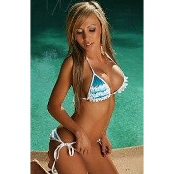 Blue w/ White Lace Triangle Top & Scrunch Bottom Bikini Set (Pink & Purple also available)