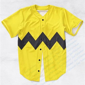 Real AMERICAN USA Size Custom made Charlie Brown Print Fashion 3D Sublimation Print Baseball Jersey Plus Size