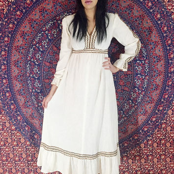 Vintage 70s Cream Cheesecloth Cotton Empire Waist Long Poet Sleeve Bohemian Folk Frilly Edge Maxi Dress S // M