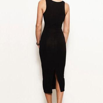 HOLLY- Asymmetrical Tank Midi Dress Bodycon Jersey LBD, Black (Michael Kors, Ralph Lau