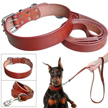 Heavy Duty Plain Leather Pet Dog Collar Leash Set Adjustable For Small Medium Large Dog Breed Pitbull Boxer Bulldog S -2XL Brown