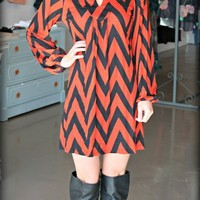 Rust Chevron Tunic Dress