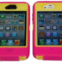 iPhone 4 4S Body Defender Style Three Layer cover Case Light Pink and Yellow -Comparable to Otterbox Defender + Bonus Cool Colors Usb Cable Charger Adapter for iPhone 4 and 4s:Amazon:Cell Phones & Accessories
