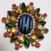 D&E Verified Juliana Art Glass Cabochon Pin, Juliana Rhinestone Pin, Aurora Borealis Brooch 817