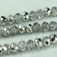 20 Silver Crystal Faceted Beads 6mm
