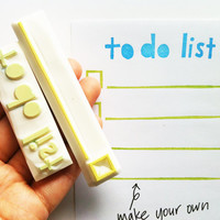 to do list rubber stamp set. hand lettered stamp.hand carved rubber stamp. check box/ line. craft projects. handmade stationery. set of 2.