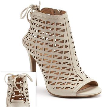 LC Lauren Conrad Women's Cutout Peep-Toe High Heel Booties