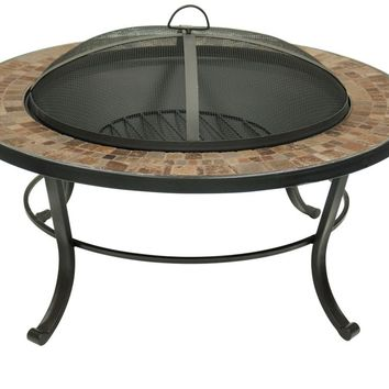 Natural Slate Tile Top & Black Base Fire Pit