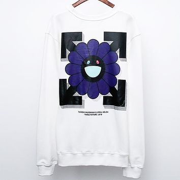 OFF-WHITE Early Autumn New Back Smile Sun Flower Print Men and Women Loose Turtleneck Sweater White