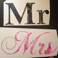 camouflage Mr and Mrs wine glass beer mug decals  Camo wedding decals