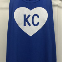 KC Glitter Heart Tank Racerback: Royal Blue with white heart
