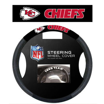 Kansas City Chiefs NFL Poly-Suede Steering Wheel Cover