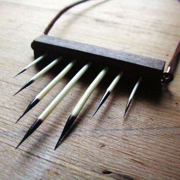 Wood and Porcupine Quills Necklace