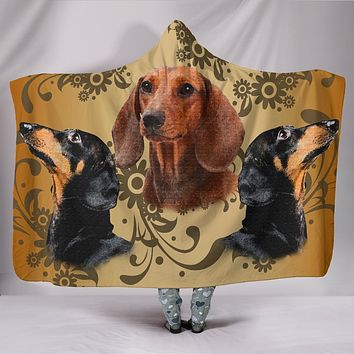 DACHSHUND LOVE HOODED BLANKET