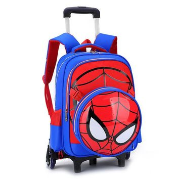 Boys Backpack Bag Fashion Removable 6 Wheels Can Climb Stairs Waterproof cartoon s Children School Bags Primary  Boy mochila AT_61_4