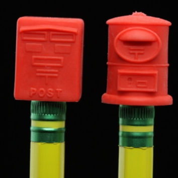 Pair Of Red Japanese Mail Box Pencil Topper Erasers