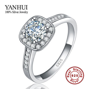 6 Classic Solid Silver Bride Wedding Rings for Women Inlay 1 Carat CZ Diamond Engagement Ring 925 Sterling Silver Jewelry HMR035
