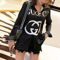 """Gucci"" Women Casual Fashion GG Letter Logo Print Long Sleeve Cardigan Lapel Shirt Tops"