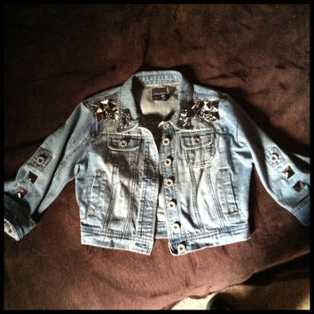 Hand Studded and Spiked Cropped Jean Jacket
