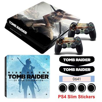 Game Tomb Raider Vinyl Game Skin Stickers For Playstation 4 Slim PS4 Slim Console Protect For PS4 Controllers Game Decals
