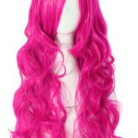 MapofBeauty 70cm Long Pink Wavy Cosplay Party Wig (Pink)