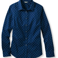 Women's Easy-Care Stretch Poplin Shirt, Dot | Now on sale at L.L.Bean