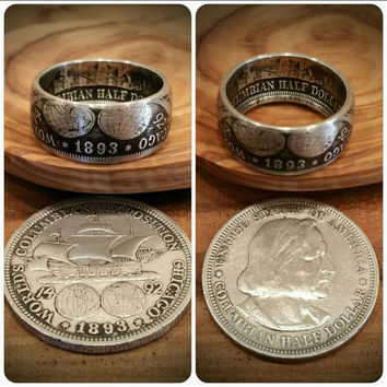 Antique Silver 1893 Columbian (Columbus) Exposition Ring -Hand Forged from Silver 1893 Half-Dollar