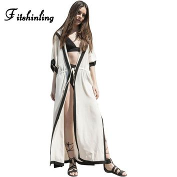 Fitshinling Bohemian splice beach cover up hooded long cardigan kimono with sashes 2018 summer slim sexy hot swimsuits outerwear