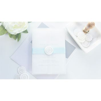 Minimal Blue Vellum and Wax Seal Wedding Invitation - DEPOSIT