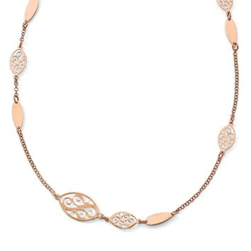 Leslies Sterling Silver Rose Gold-plated Polished Filigree Necklace