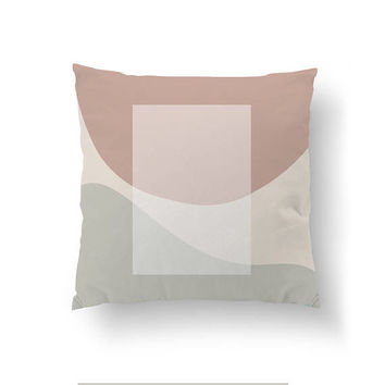Pink Gray Pillow, Home Decor, White Rectangle, Cushion Cover, Mid Century, Throw Pillow, Simple Design, Decorative Pillow, Geometric Shapes