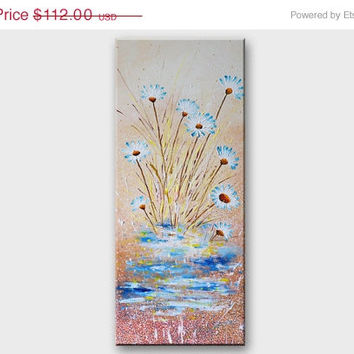 ON SALE Original flowers painting on canvas Daisies Pastel Floral modern abstract nature art Landscape acrylic painting by Artbyasta Asta K
