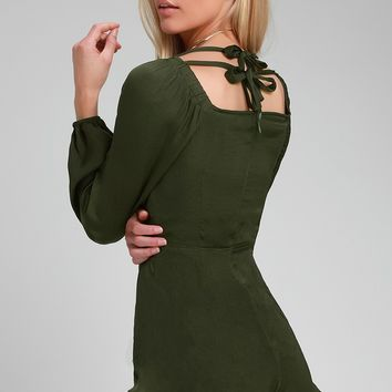 Charisma and Class Dark Green Satin Tie-Front Romper