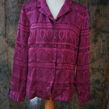 Women's Joan Leslie Shirt Button Down Magenta Long Sleeve Size 16