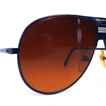 vintage 80s deadstock aviator sunglasses navy blue metal frames sport white amber orange lens driving rays sun glasses eyewear men women 160