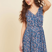 Breezier Said Than Done Floral Dress in Cerulean | Mod Retro Vintage Dresses | ModCloth.com