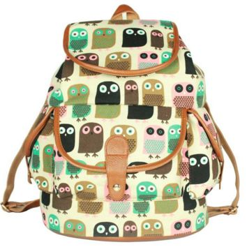 Women's Owl Pattern Print Canvas Backpack Campus School Bookbag