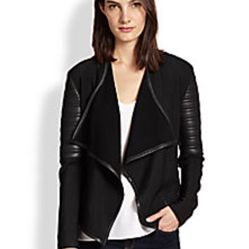 Generation Love - Faux Leather-Paneled Knit Jacket - Saks Fifth Avenue Mobile