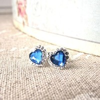 Petite Blue Heart Stud Earrings