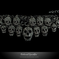 Skulls Cluster Black Diamond Goth Fashion Bracelet - 6.5 Inch | Crystal
