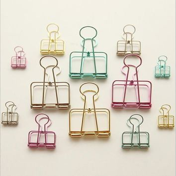 AB23 1X Creative Colorful Metal Clip File Paper Document Binder Clip School Office Supply Student Stationery Paper Clip