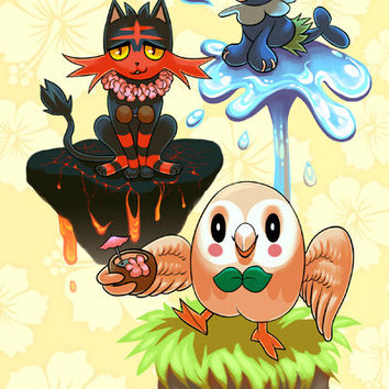 Pokemon Sun Moon Alola Starters 6x9 Lined Perfect Bound Notebook - Glossy Finish - Rowlet, Litten and Popplio - 50 Double Sided Pages