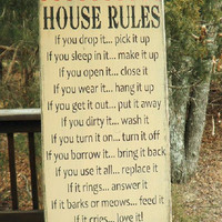 House rules, funny house rules. handmade, home decor, wall sign