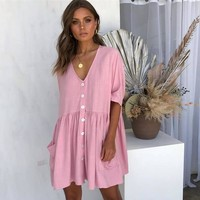 Laamei 2019 Women Summer Dress Sexy V-Neck Buttons Pockets Mini Dress Casual Loose Short Sleeve Elegant Party Beach Vestidos