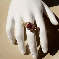 Vintage 14K Gold HGE Pink Ruby Ring